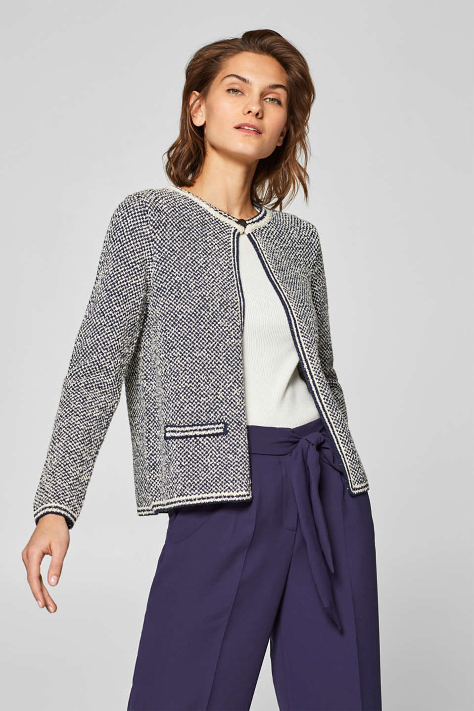 Esprit - Bouclé cardigan in blended cotton
