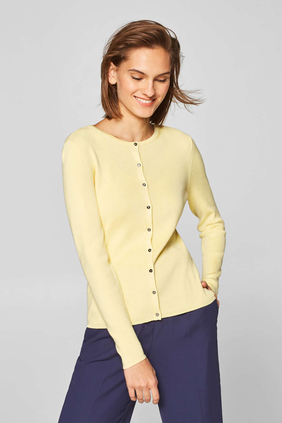 Esprit - Stretchcardigan i ribstrik