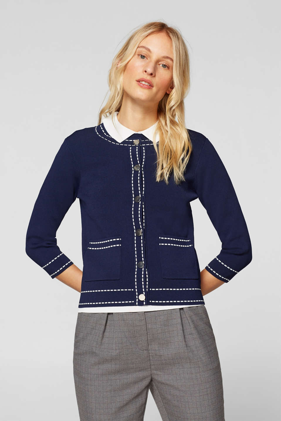 Cardigan with contrasting details, NAVY, detail image number 2