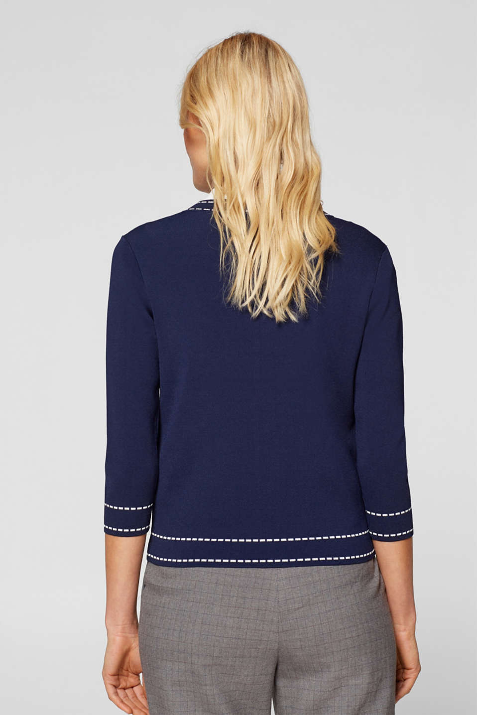 Cardigan with contrasting details, NAVY, detail image number 4