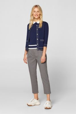 Cardigan with contrasting details, NAVY, detail