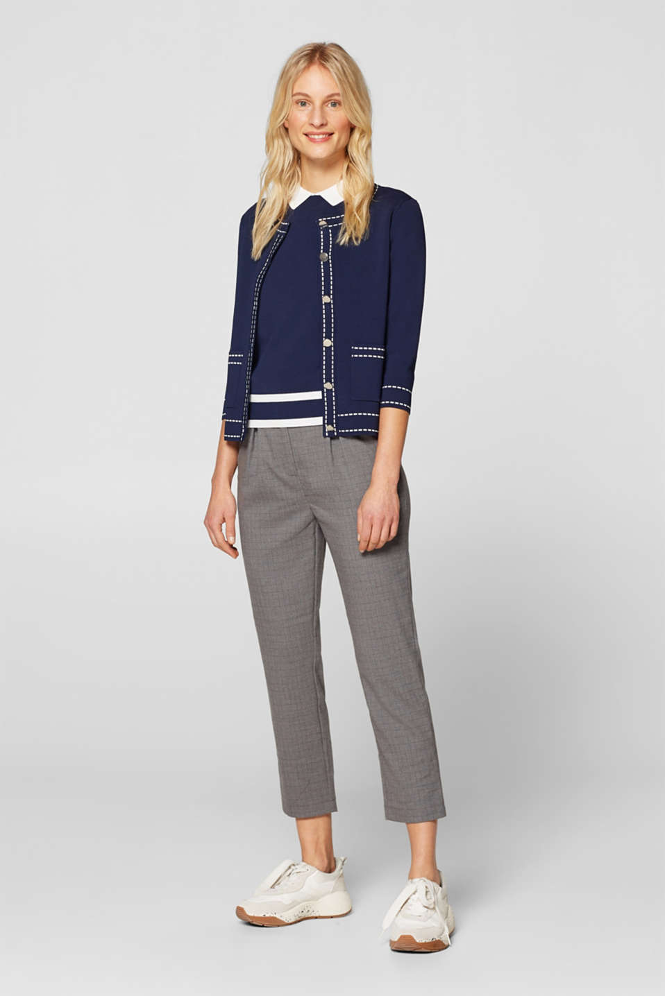 Cardigan with contrasting details, NAVY, detail image number 1