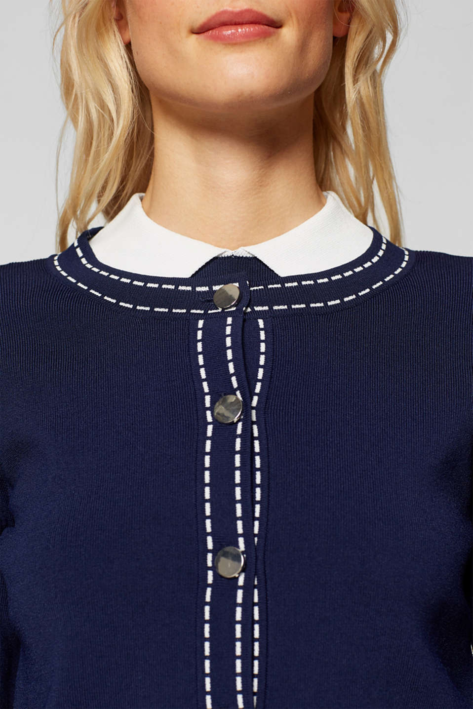 Cardigan with contrasting details, NAVY, detail image number 6