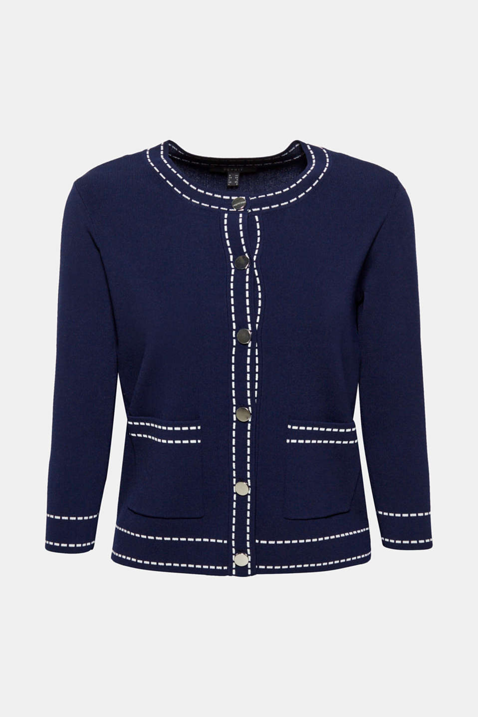 Cardigan with contrasting details, NAVY, detail image number 7