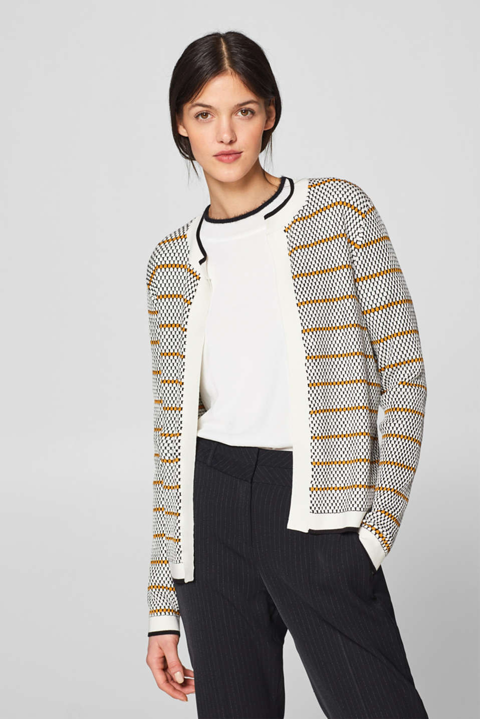 Esprit - Open-fronted textured cardigan in a polka dot design