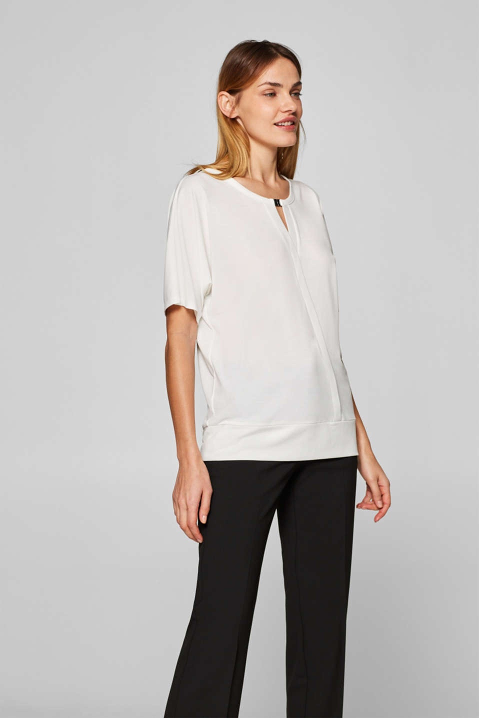 Esprit - Wrap-over effect top with an embellished neckline