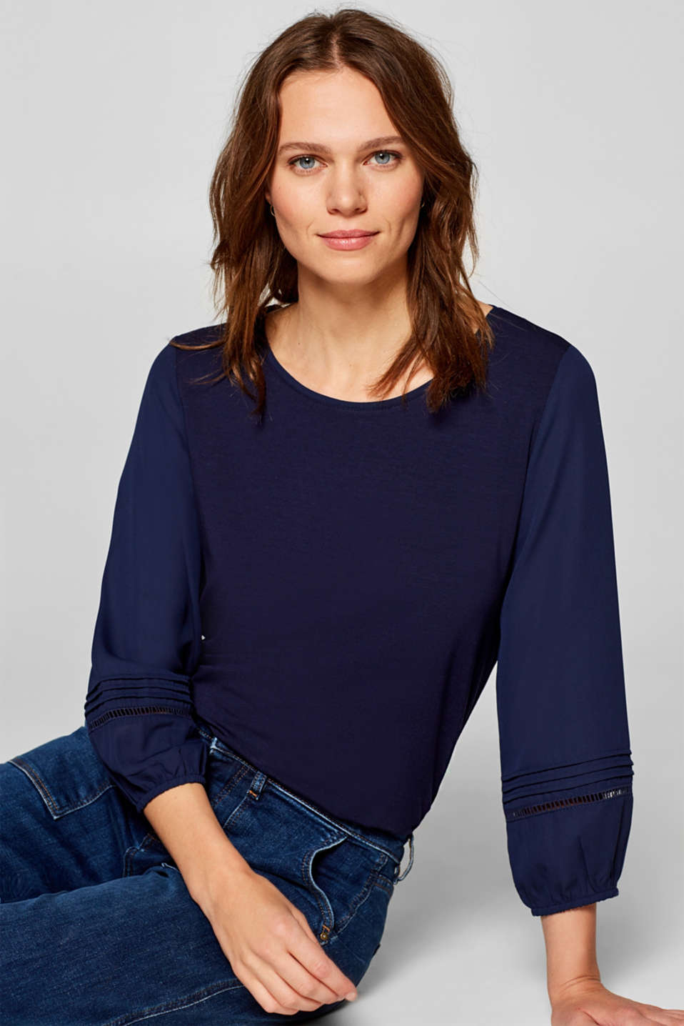 Esprit - Material mix top with balloon sleeves