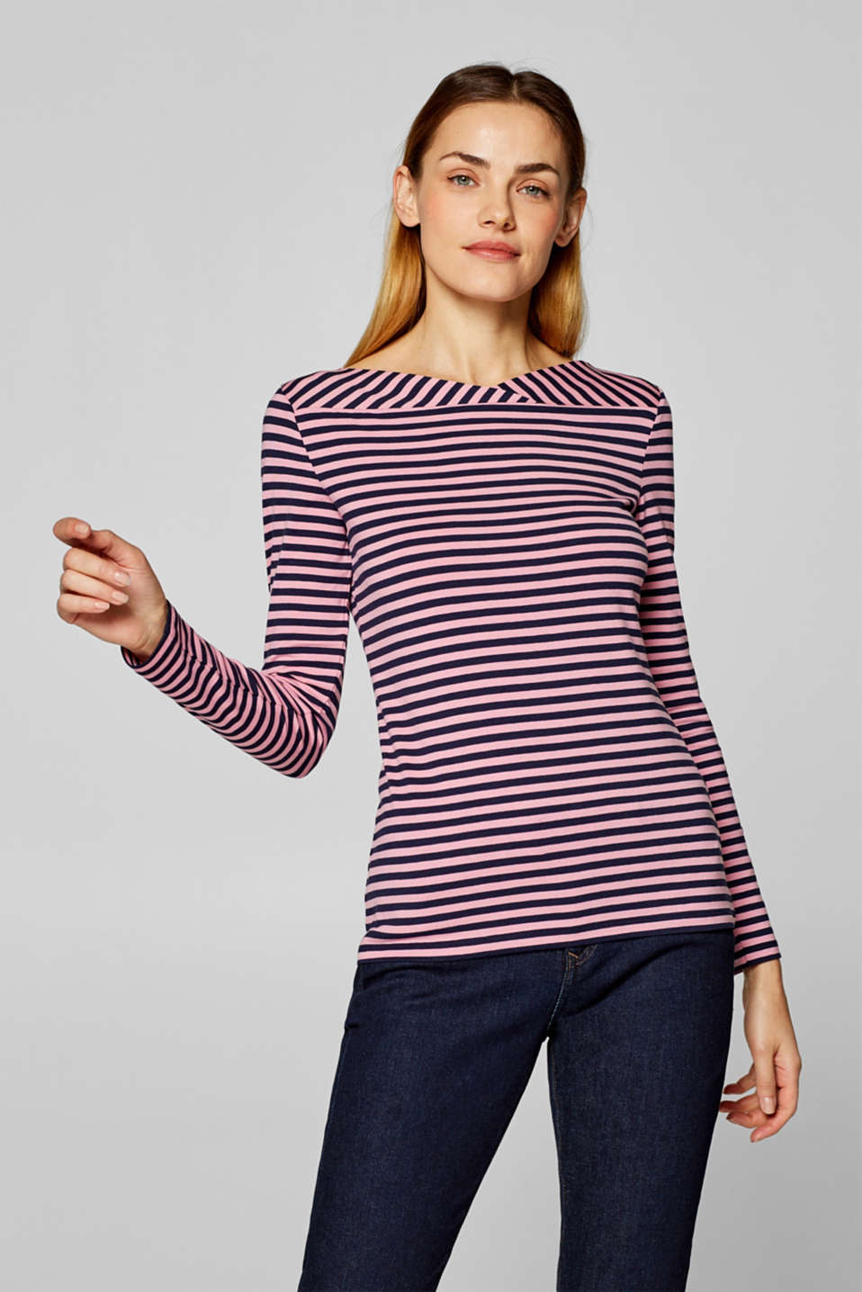 Esprit - Stretchy long sleeve top with a wrap neckline