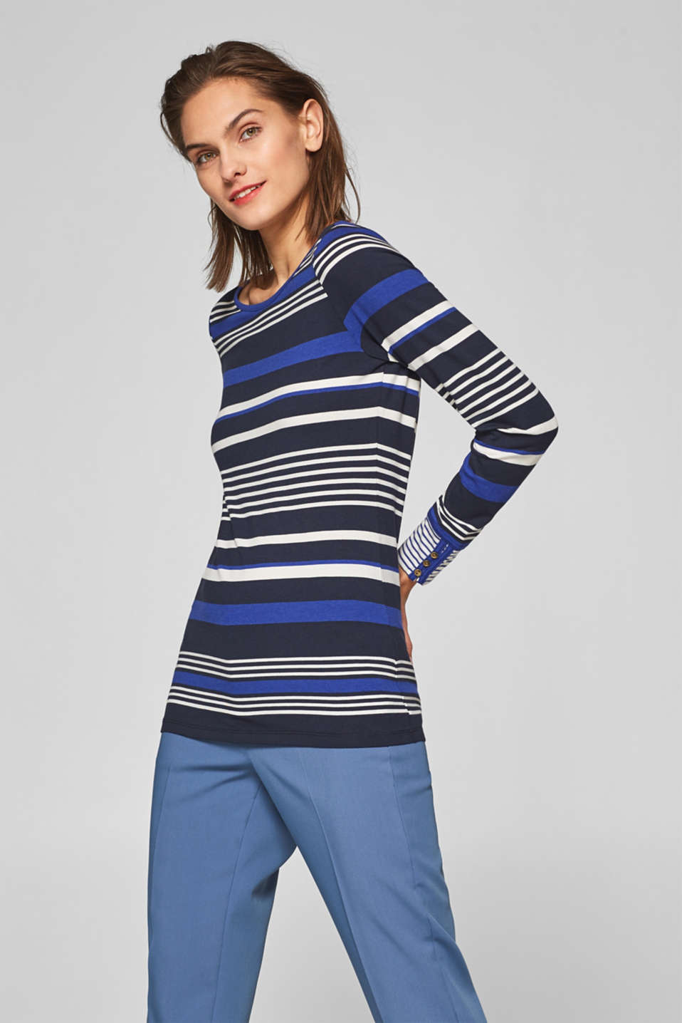 Striped, stretchy long sleeve top with cuffs, NAVY 2, detail image number 0