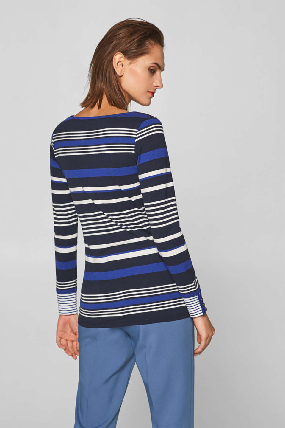 Striped, stretchy long sleeve top with cuffs, NAVY 2, detail image number 3