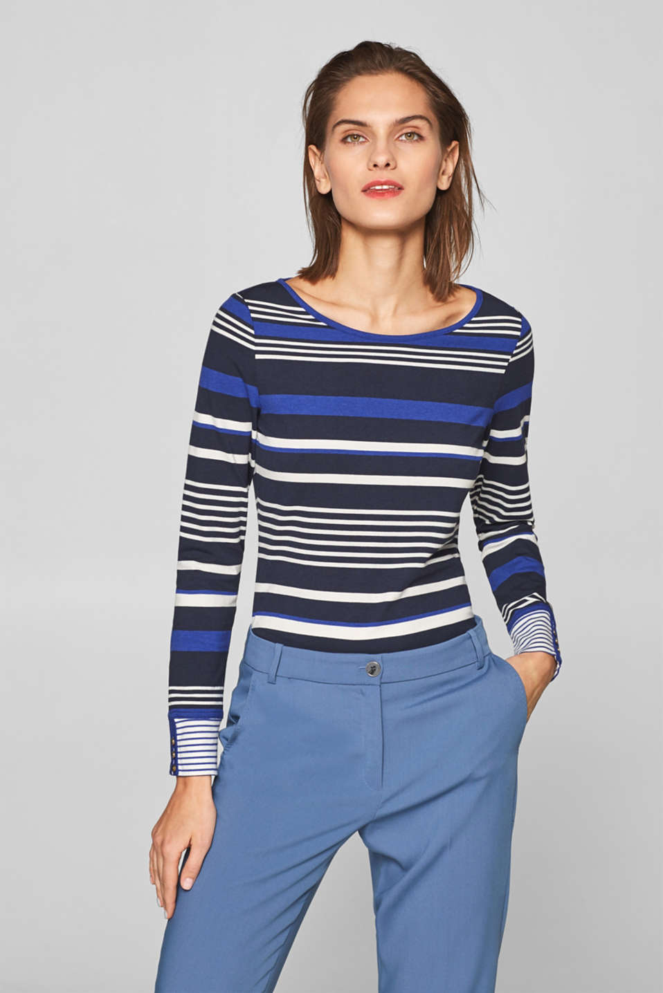 Striped, stretchy long sleeve top with cuffs, NAVY 2, detail image number 5