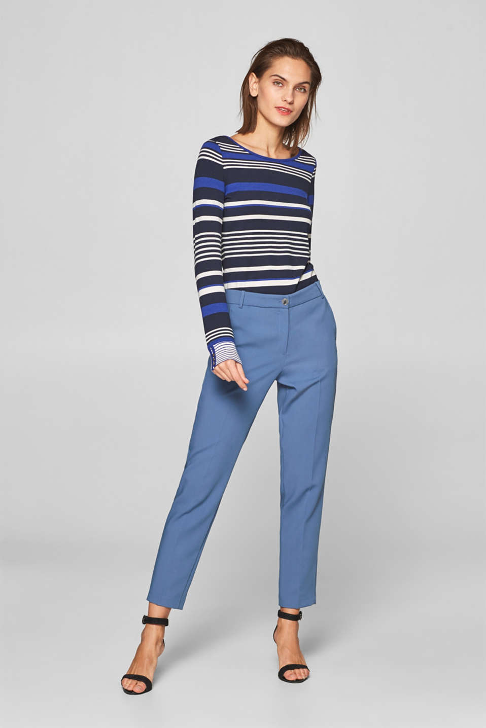 Striped, stretchy long sleeve top with cuffs, NAVY 2, detail image number 1