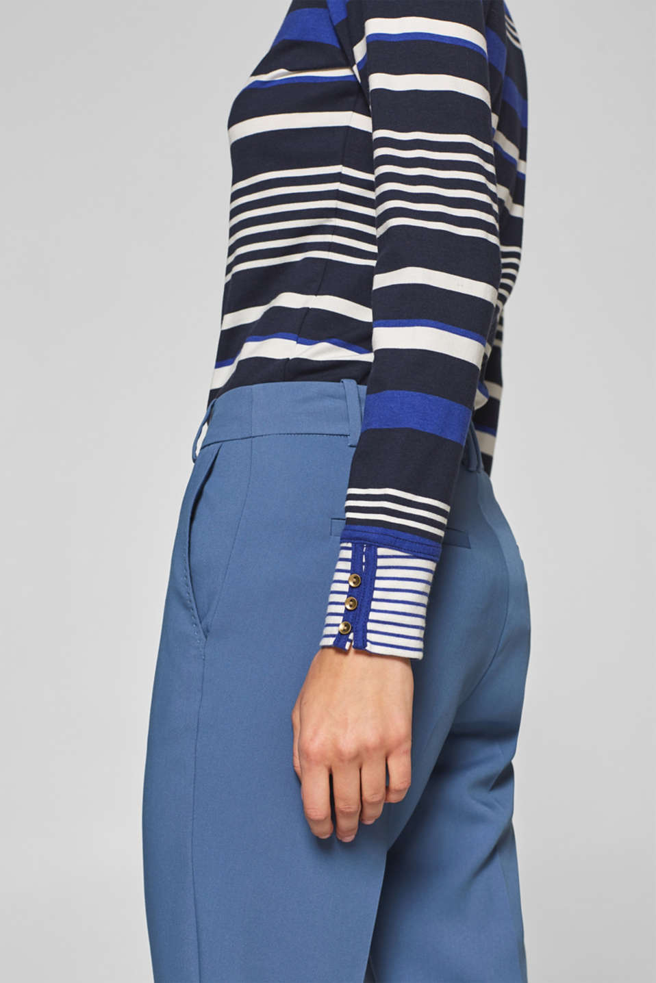 Striped, stretchy long sleeve top with cuffs, NAVY 2, detail image number 2