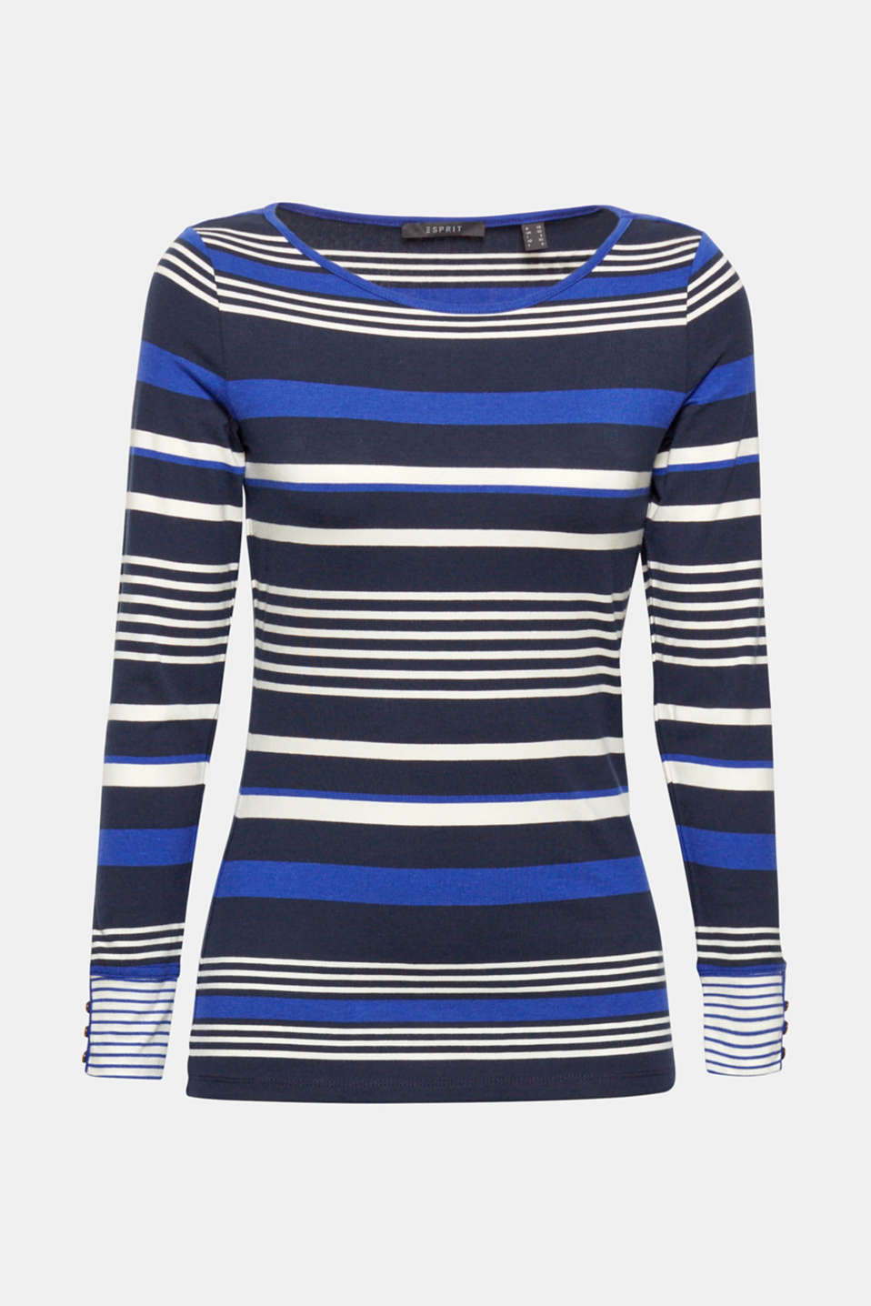 Striped, stretchy long sleeve top with cuffs, NAVY 2, detail image number 6