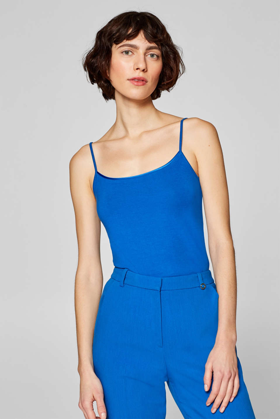 Stretch top with spaghetti straps, BRIGHT BLUE, detail image number 0
