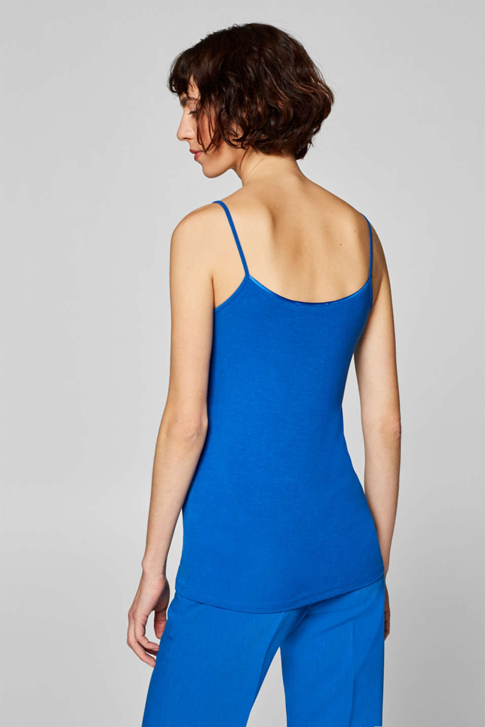 Stretch top with spaghetti straps, BRIGHT BLUE, detail image number 3