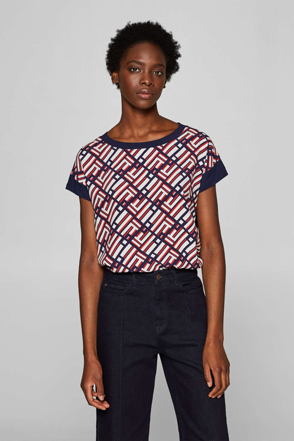 Esprit - Printed blouse top in a mix of materials