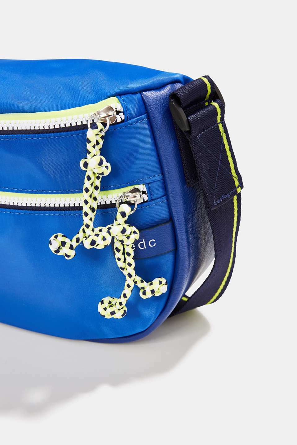 Nylon shoulder bag with a zip, BRIGHT BLUE, detail image number 3