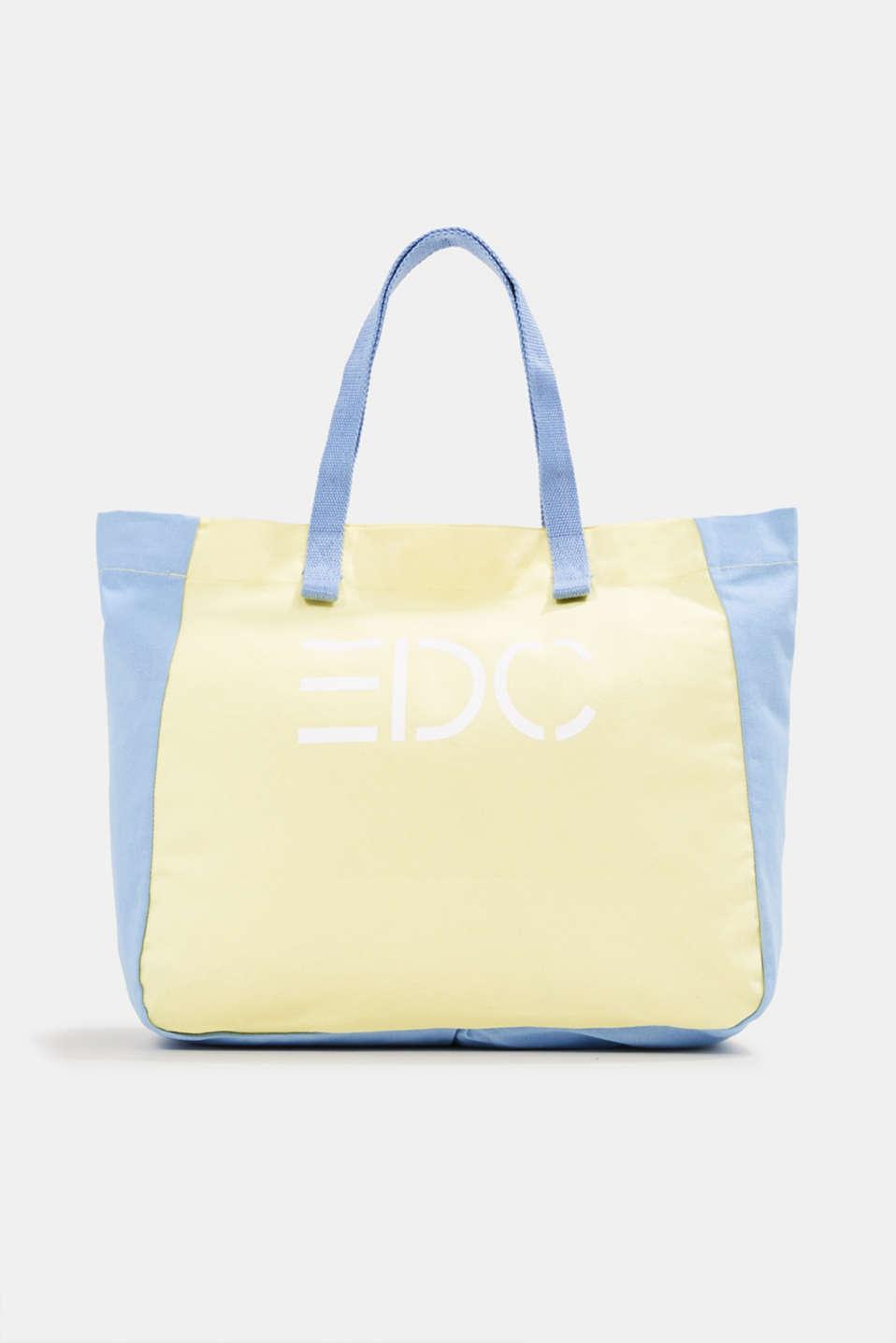 Canvas shopper with a logo print, 100% cotton, BLUE LAVENDER, detail image number 0