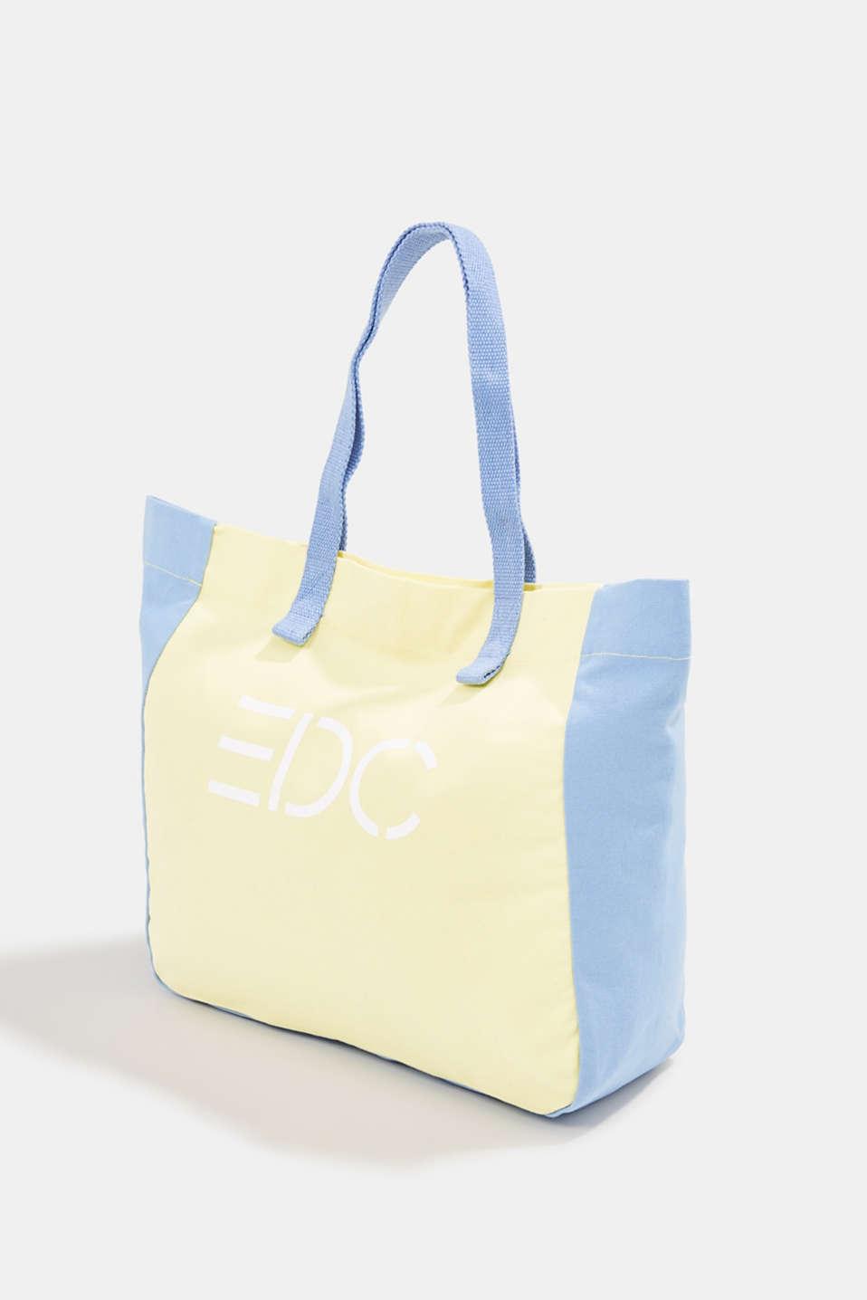 Canvas shopper with a logo print, 100% cotton, BLUE LAVENDER, detail image number 2