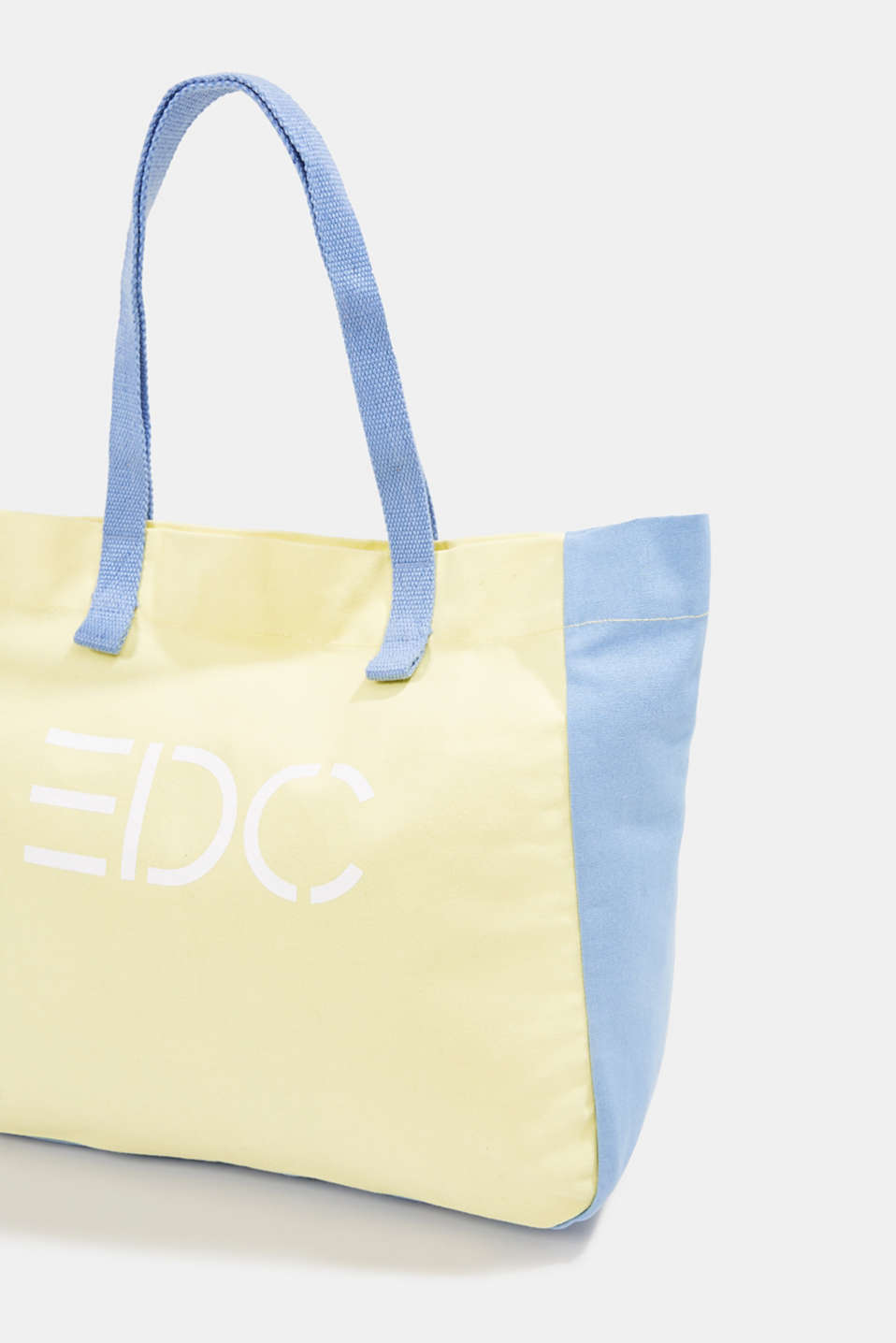 Canvas shopper with a logo print, 100% cotton, BLUE LAVENDER, detail image number 3