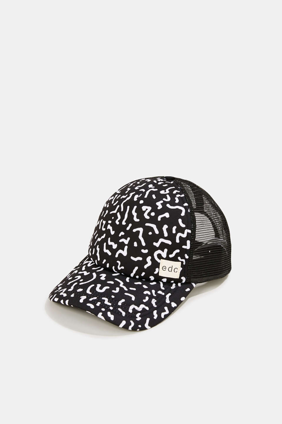 Mesh cap with a Memphis print, BLACK, detail image number 0