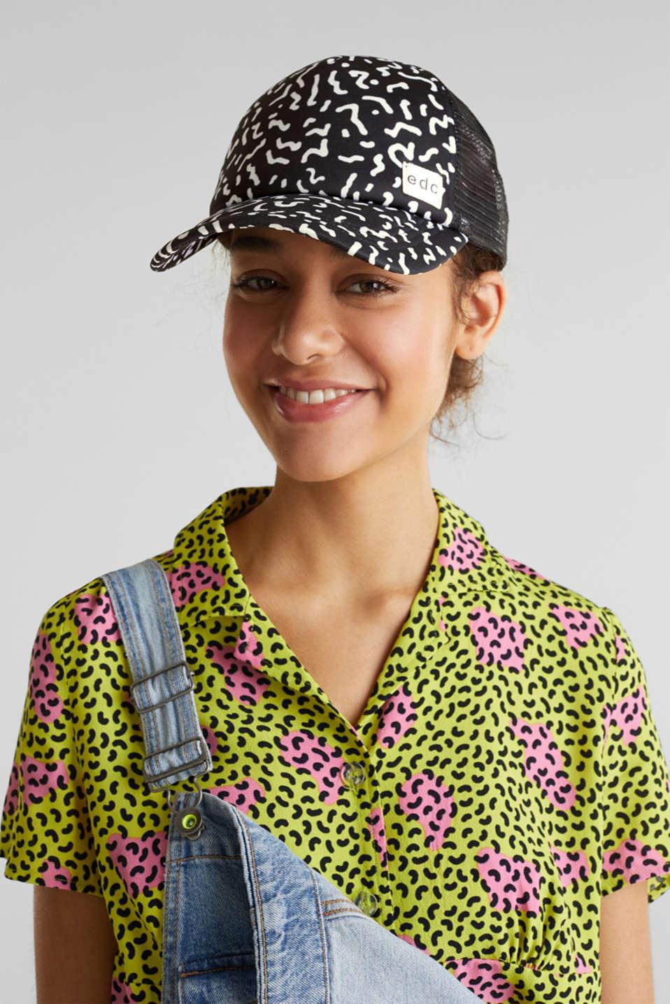 Mesh cap with a Memphis print, BLACK, detail image number 2
