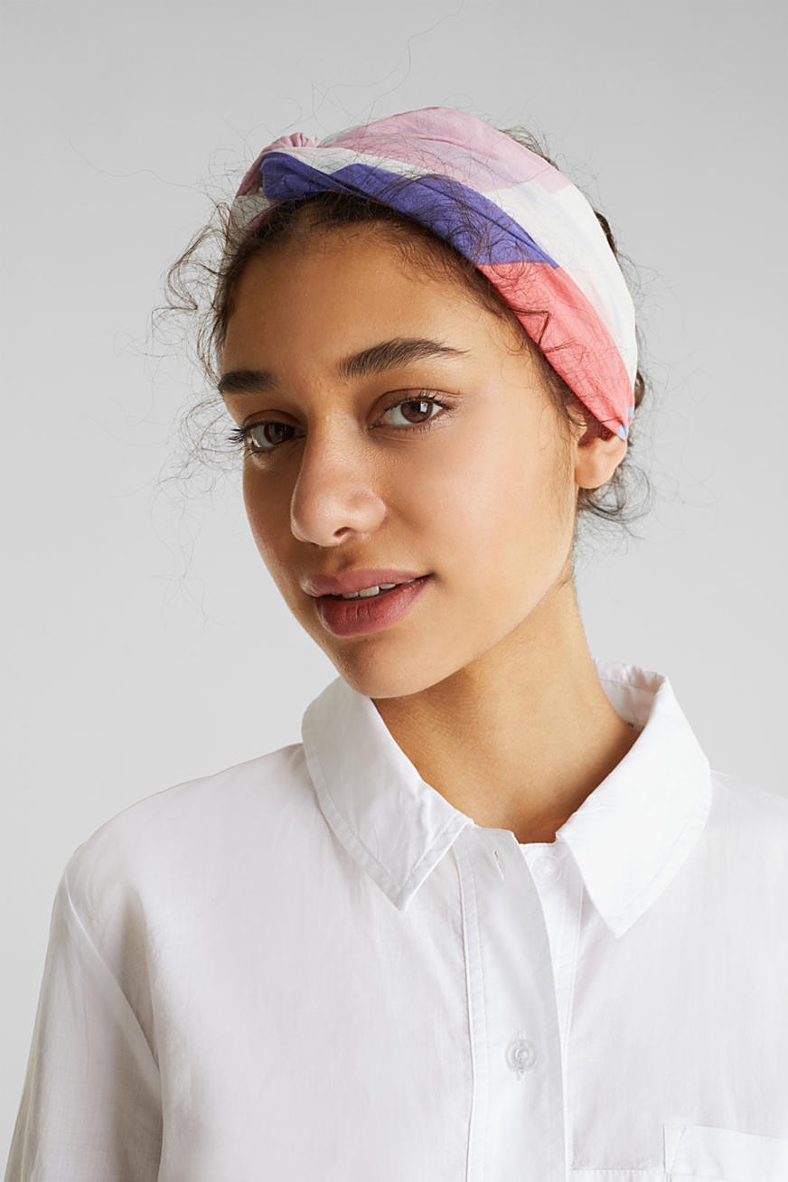 Colour block hairband, 100% cotton