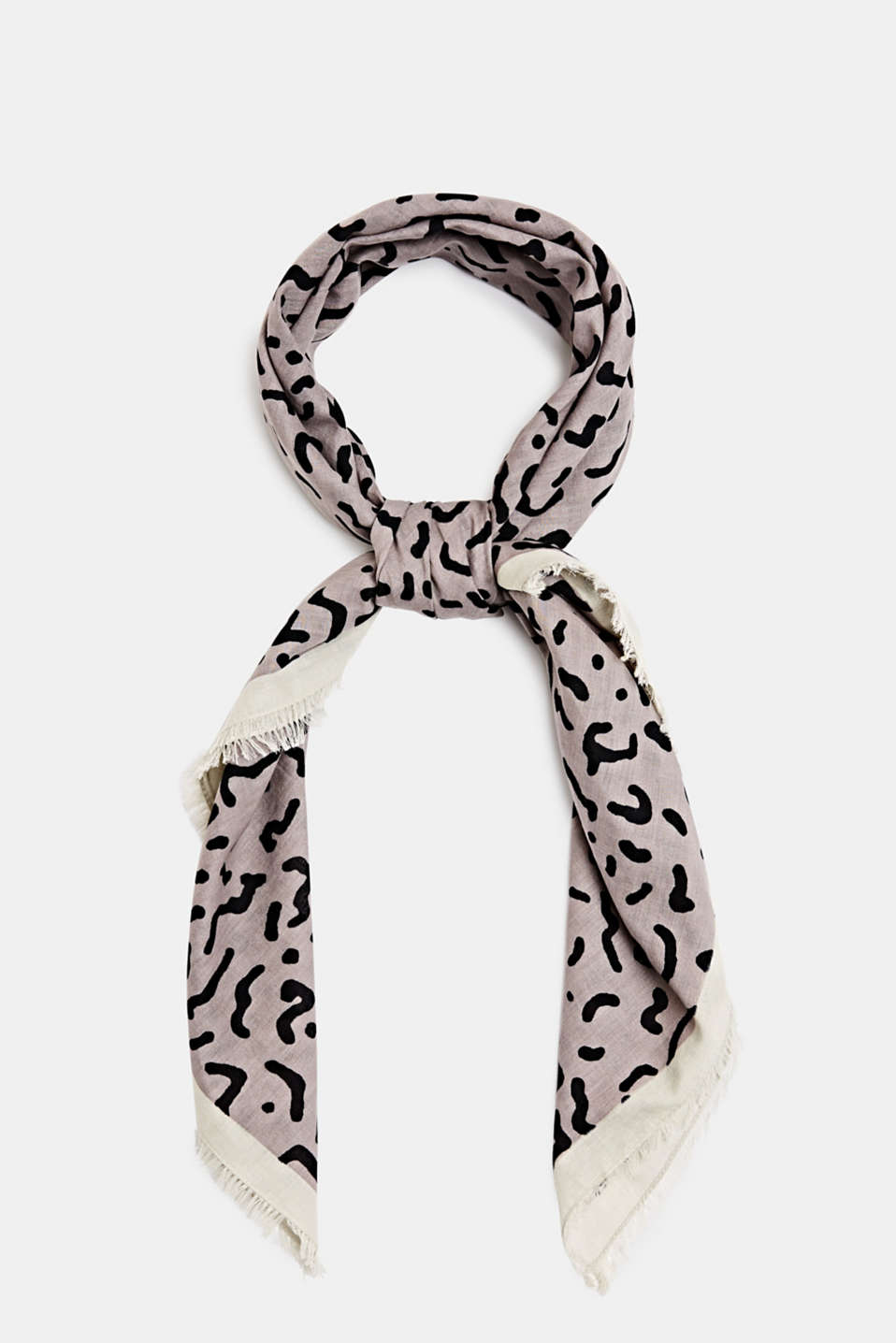 Animal print scarf, 100% cotton, ANTHRACITE, detail image number 0