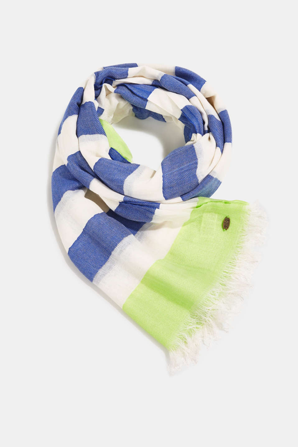 Woven scarf with block stripes, CITRUS GREEN, detail image number 0
