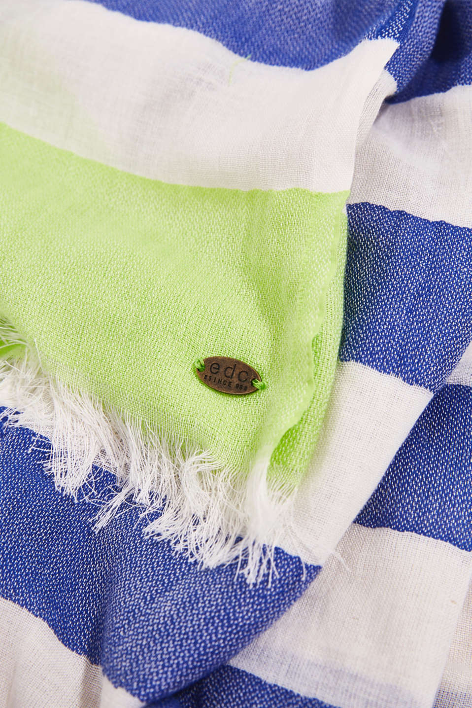 Woven scarf with block stripes, CITRUS GREEN, detail image number 2