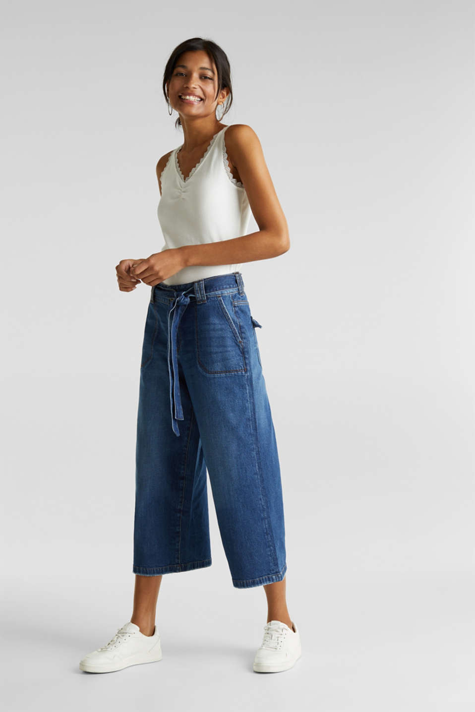 Denim culottes with patch pockets, BLUE DARK WASH, detail image number 0