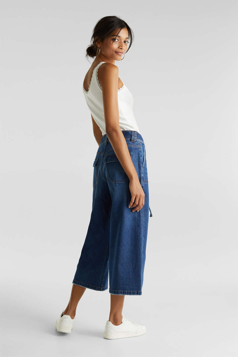 Denim culottes with patch pockets, BLUE DARK WASH, detail image number 3