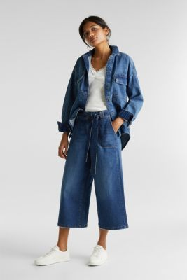 Denim culottes with patch pockets, BLUE DARK WASH, detail