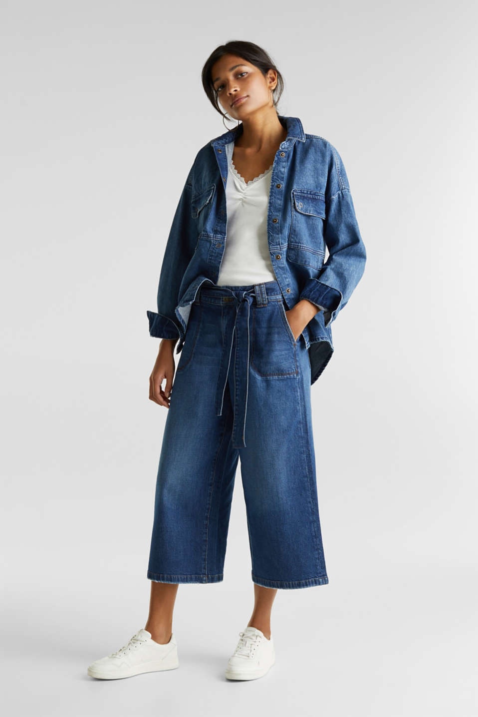Denim culottes with patch pockets, BLUE DARK WASH, detail image number 1