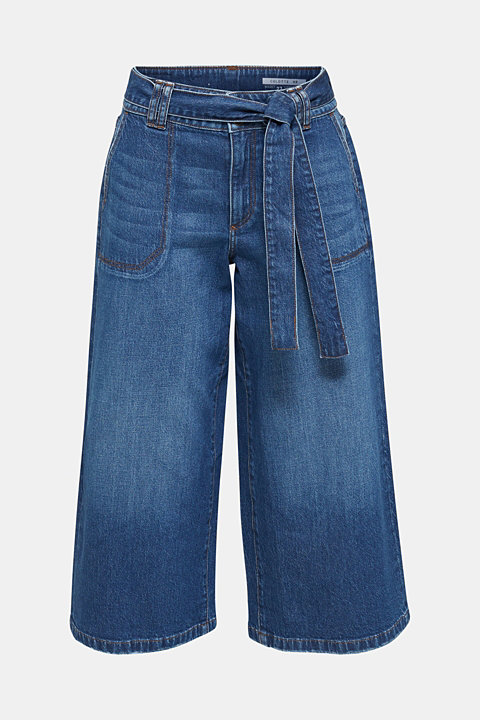 Denim culottes with patch pockets
