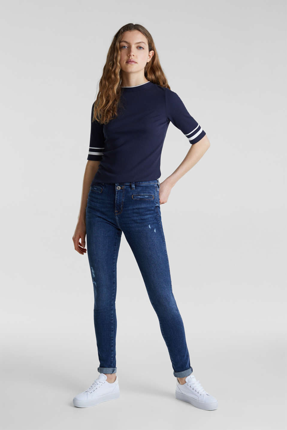 Two-button jeans with new pockets, BLUE DARK WASH, detail image number 0