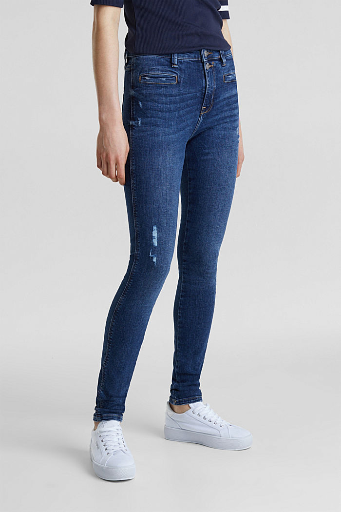 Two-button jeans with new pockets, BLUE DARK WASHED, detail image number 6
