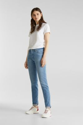 Basic jeans with a vintage finish, BLUE LIGHT WASH, detail