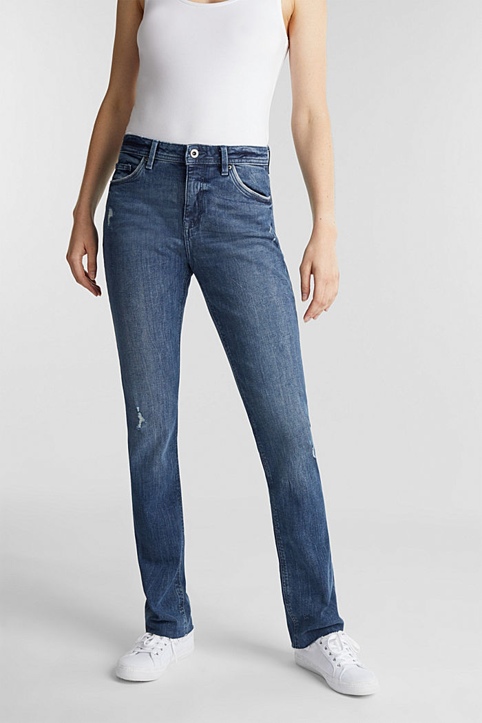 Used-Look-Jeans mit Pipings