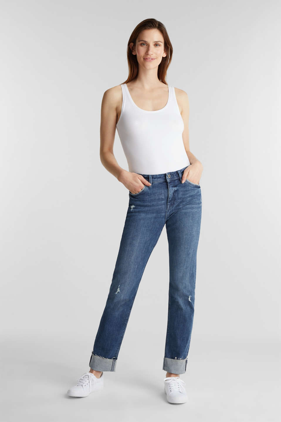 Vintage-style jeans with piping, BLUE MEDIUM WASH, detail image number 0
