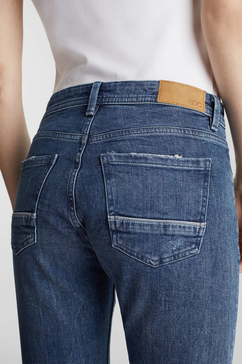 Vintage-style jeans with piping, BLUE MEDIUM WASH, detail image number 4