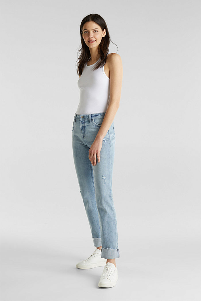 Vintage-style jeans with piping, BLUE LIGHT WASHED, detail image number 0