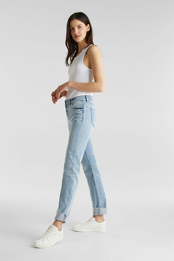Vintage-style jeans with piping, BLUE LIGHT WASHED, detail image number 1