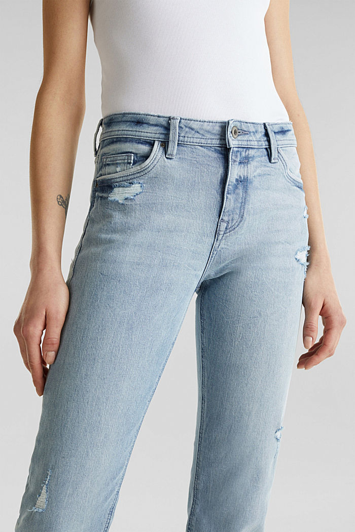 Vintage-style jeans with piping, BLUE LIGHT WASHED, detail image number 2