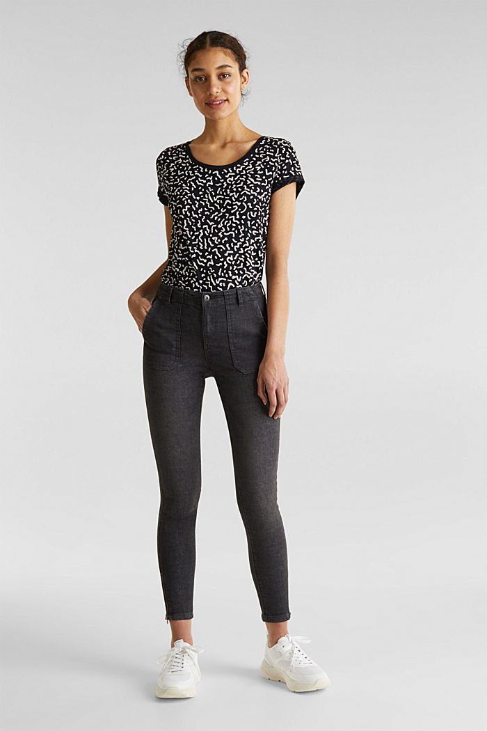 Knöchellange Hose mit Zippern, BLACK, detail image number 0
