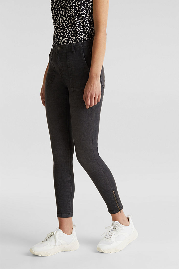 Ankle-length trousers with zips, BLACK, detail image number 6