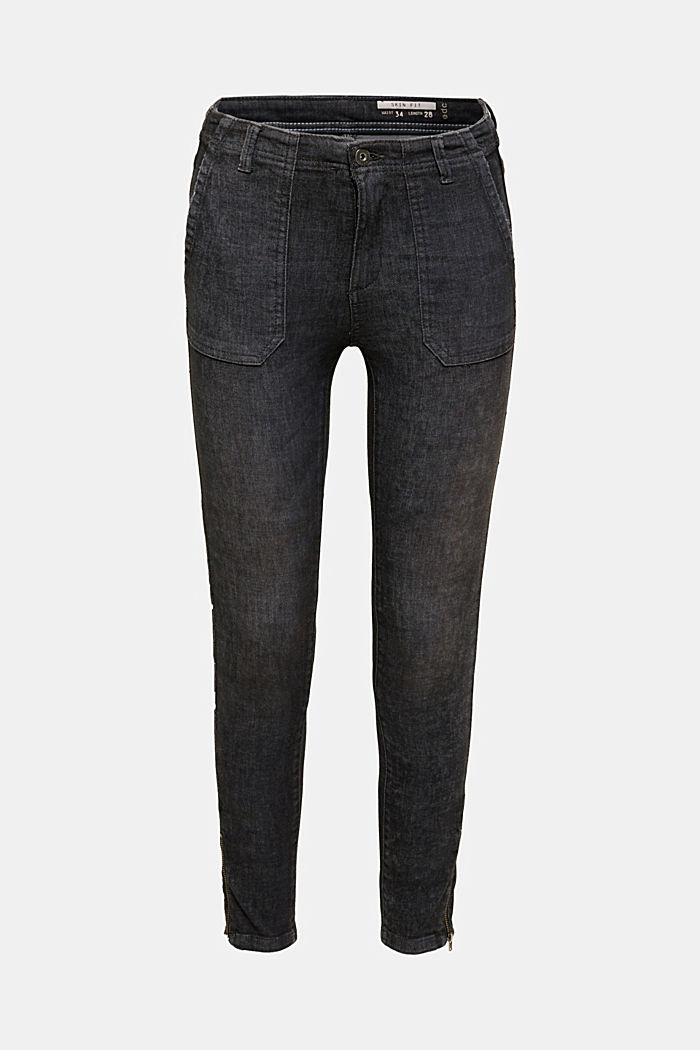 Ankle-length trousers with zips, BLACK, detail image number 0