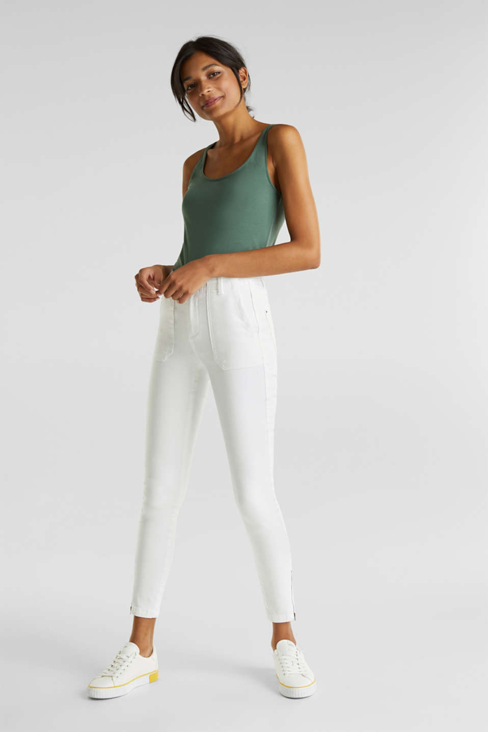Knee-length trousers with hem zips, WHITE, detail image number 0
