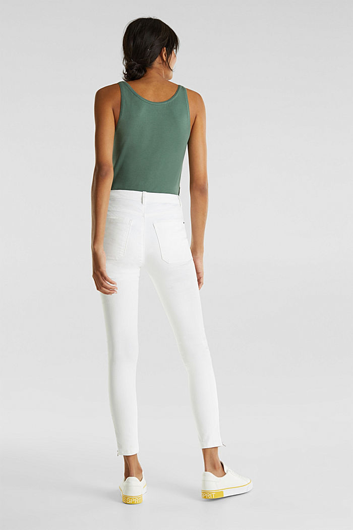 Ankle-length trousers with zips, WHITE, detail image number 3